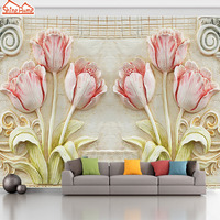 ShineHome Flower Large Custom Brick Wallpapers European 3D Wall Murals Contact Paper Home Decor Living Room