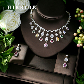 HIBRIDE Luxury AAA Cubic Zirconia Bridal Jewelry Sets for Women 2019 Birthday Gift New 2pcs Jewelry Set Accessories Bijoux N-475