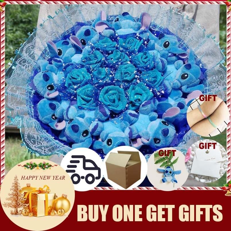 Point de Bouquet Peluche Carton Animaux Jouets Artificielle Kawaii de Bande Dessinée Faux Fleurs Meilleur Anniversaire le Jour De Noël Cadeaux