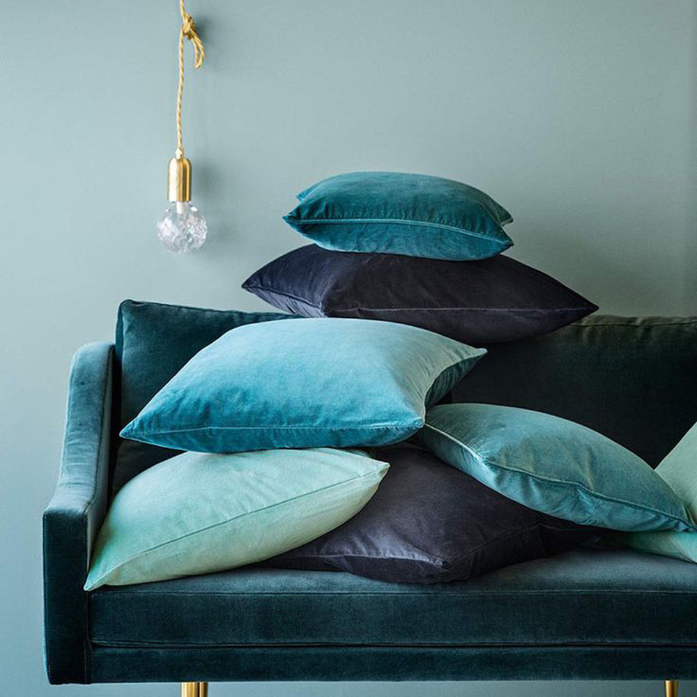 ESSIE HOME 2017 Fashion Colors Blue Peacock Green Peacock Turquoise Blue High End Fine Velvet Cushion Cover Pillow Case