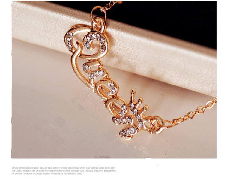 SHUANGR Luxury Gold-Color Queen Crown Chain Necklace Zircon Crystal Necklace Women Fashion Jewelry Birthday Present 8