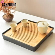 CAKEHOUD Chinese Kung Fu Tea Set Table Service Tray Bamboo Saucer Travel Dry Bubble Ceremony Accessories