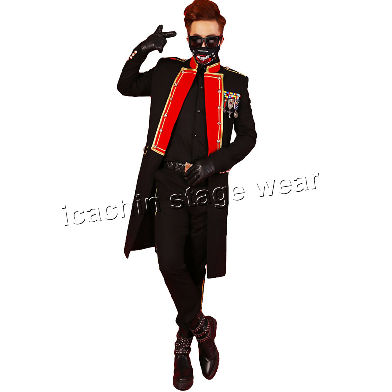 Red and black bi color long men concert font b jacket b font stage costumes for