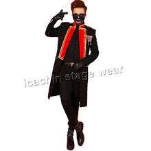 Red and black bi-color long men concert jacket stage costumes for singers terno masculino mens stage wear blazer masculino