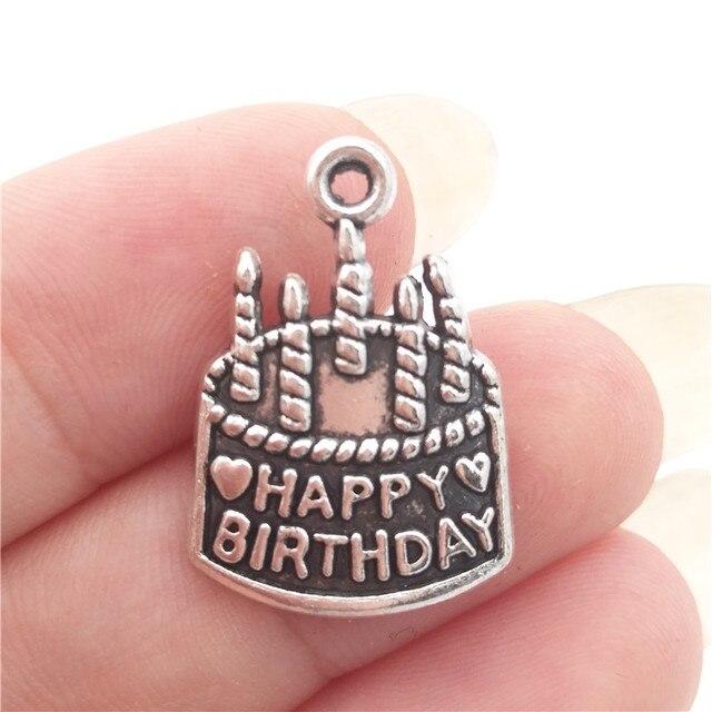 BULK 30 Zinc Alloy Happy Birthday Cake Charms Tibetan Silver Plated