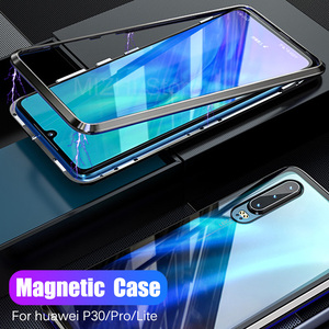Image 1 - Magnetic Case for huawei p30 Pro tempered glass Cover on huwei p30 lite p 30 Pro light p30lite p30Pro 30lite Back Cover coque