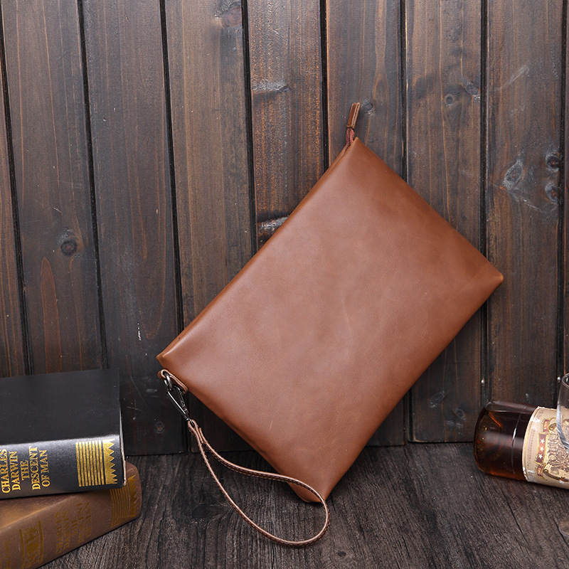 Business Travelling Organizer For Certificate Ipad Bag Padfolio PU Leather Document Bag With Zipper Document Bag With Handles