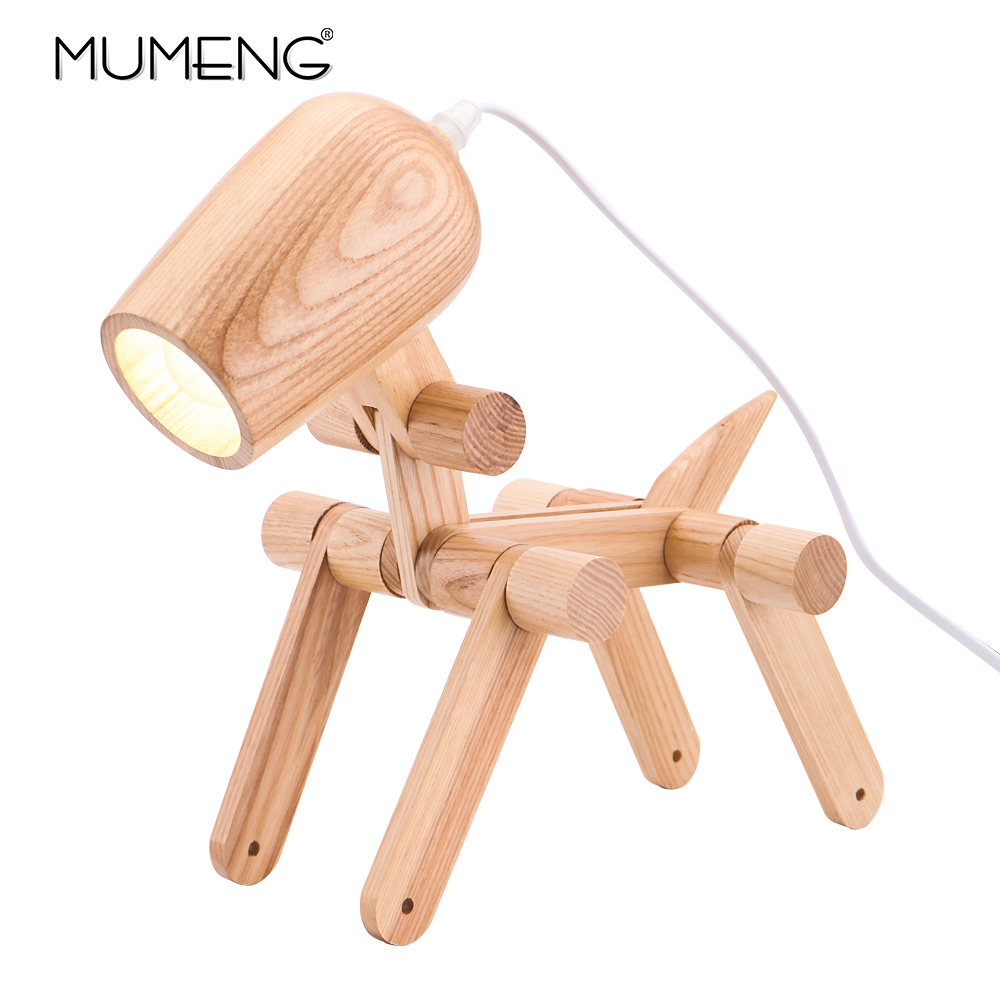 犬の形の木製テーブルランプ E27 ランプホルダー 110 240 220v クリエイティブアート木製デスクテーブルランプパーラー屋内子スタディ夜の光  グループ上の ライト & 照明 からの LED 卓上ライト の中 1