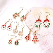 6 Pairs/Set Xmas Christmas Elk Santa Claus Snowman Lovely Tree Cute Dangle Earrings Women Jewelry Elegant Party Drop Earring