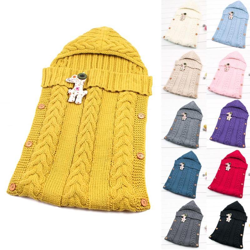 Newborn Baby Sleeping Bag Knitted Crochet Infanted Hooded Wrap Swaddling Blanket Winter Warm Sleeping Bag saco de dormir XV3