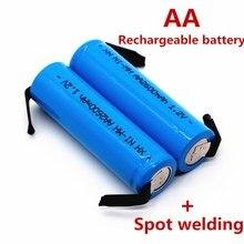 10 pcs Novo 1.2 v bateria recarregável AA 2600 mah NI-MH 2A com pinos de solda conjunta folha barbeador Elétrico escova de dentes bateria
