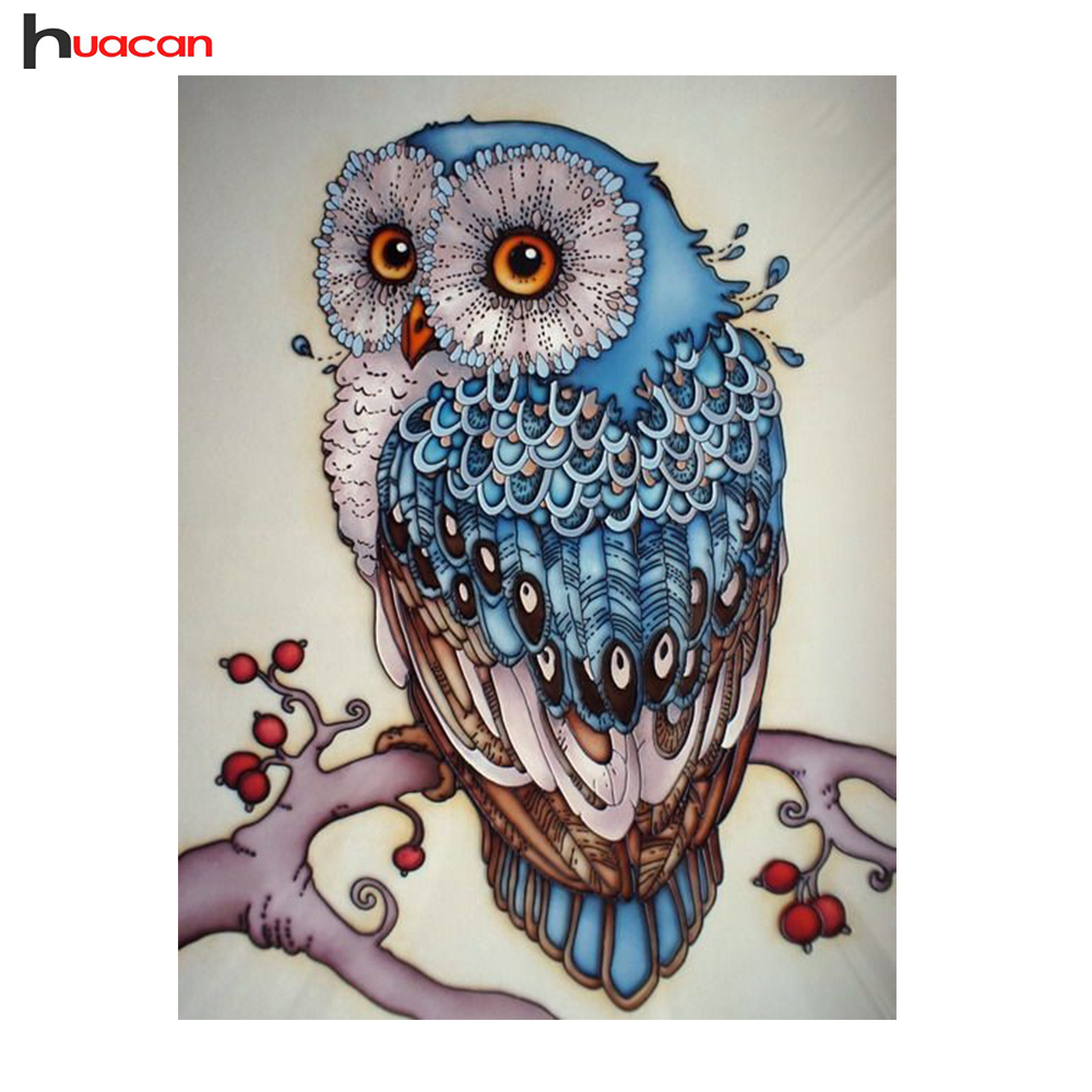 HUACAN Owl Diamond Embroidery DIY Needlework Cross Stitch Diamond Painting Animal Resin Painting Diamond Mosaic Baby Gifts F1527