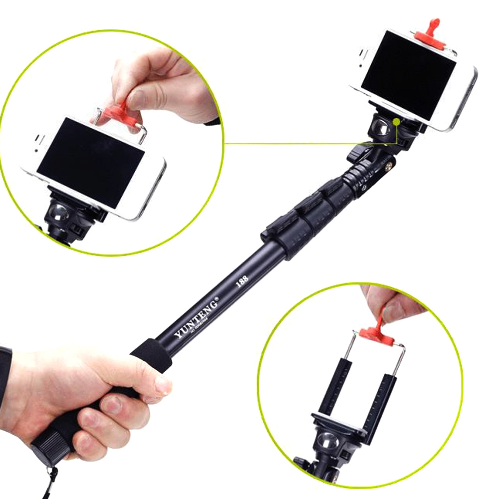 yunteng c 188 extendable selfie stick tripod monopod adapter w clip for iphone samsung huawei. Black Bedroom Furniture Sets. Home Design Ideas