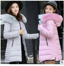 2017 autumn and winter new women in the long section of the Korean version of Slim long cotton coat big hair collar female winte