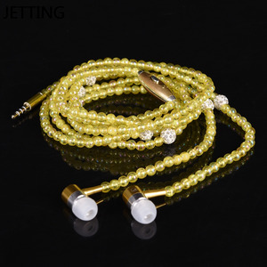 Image 3 - New Pink rhinestone Jewelry Pearl Necklace Earphones With Microphone Earbuds for iphone Xiaomi Brithday Gift