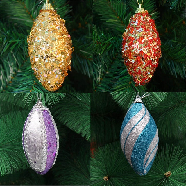 5pcs 11cm High Quality Oval Rugby Christmas Tree Pendant For Christmas  Party Holiday Tree Venue Hanging Decoration New - 5pcs 11cm High Quality Oval Rugby Christmas Tree Pendant For