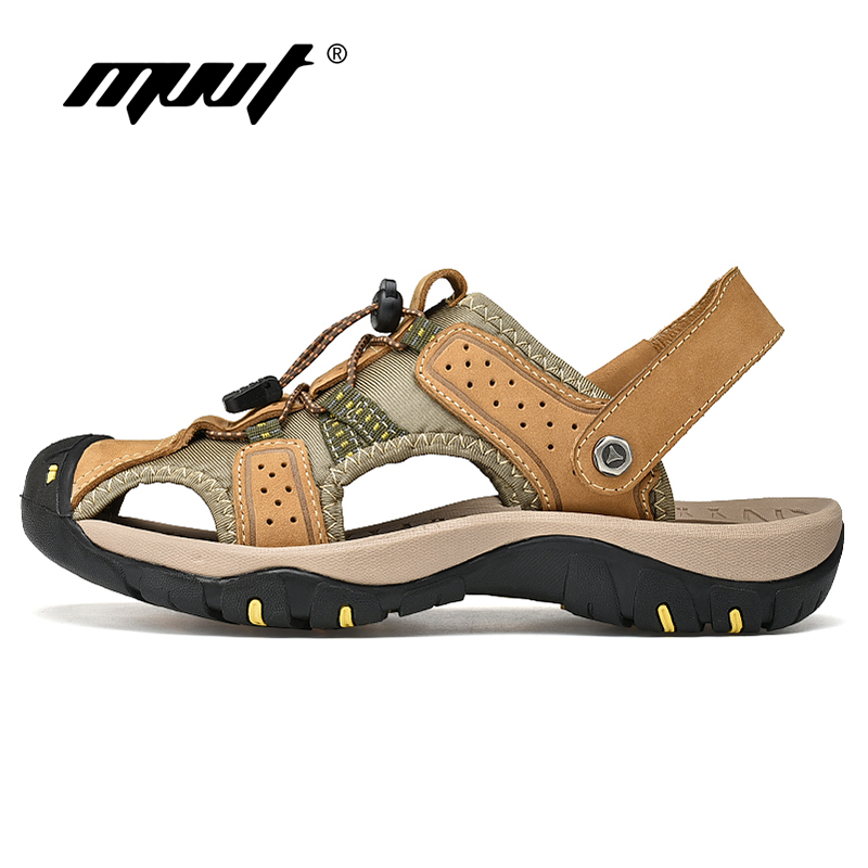 Summer Plus Size 47 Men Outdoor Sandals Quik-dry Genuine Leather Beach Sandals Men Water Sandals Cool Men Hiking Sandals
