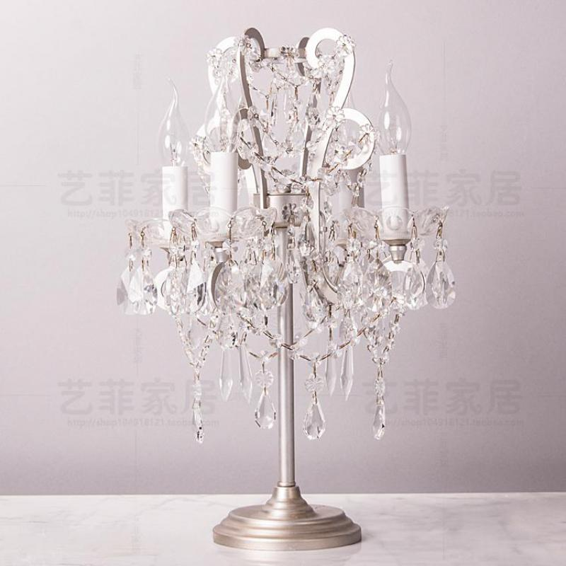 French Vintage Wrought Iron Table Lamp Crystal Candlestick