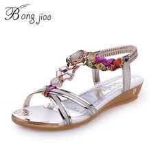 BANGNJIAO 2018 Bohemia Sandalias Mujer cristal talón plano Sandalias  Rhinestone cadena mujeres Zapatos Thong Flip Flops 6d42c4cb8a48