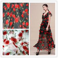 Exquisite Three Dimensional Embroidery Organza Cotton Material Chiffon Dress Wedding Dress Fabric Width 280 Cm RS1162