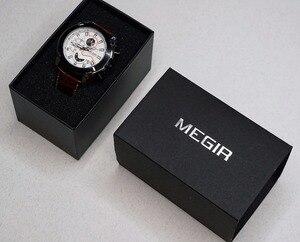 Image 5 - MEGIR montre de Sport militaire pour hommes, marque de luxe en cuir, horloge à Quartz pour hommes, chronographe créatif