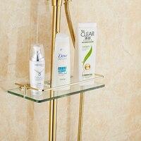 European Golden Toilet Bathroom Shelf Rack Shower Tray Storage Rack Glass And Brass Cosmetics Shelf