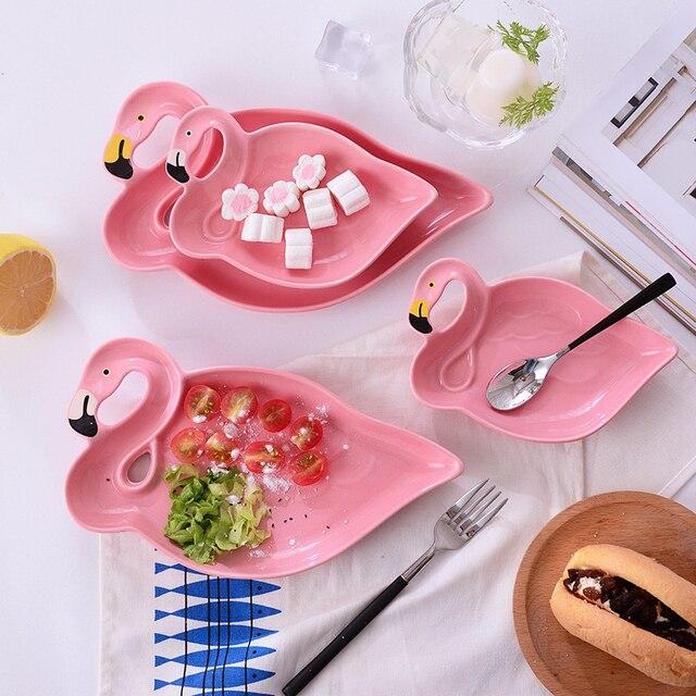 1 шт. Фламинго серии розовый 3D творческий керамические пластины закуски Сушёные фрукты с фруктами десерт костяного фарфора посуда