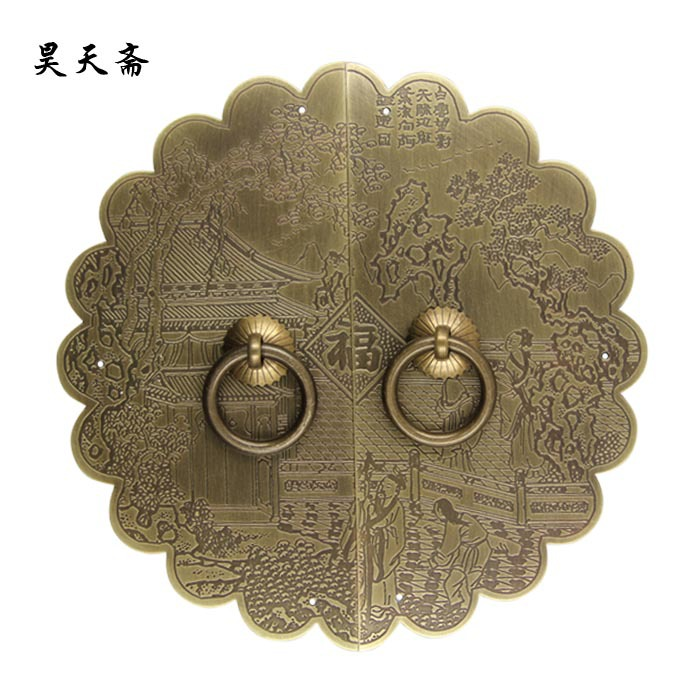 [Haotian vegetarian] copper engraving lace Chinese antique copper door handle house handle 18cm diameter 2017 new flower girls party dress embroidered gownceremonial robe dress formal bridesmaid wedding girl christmas princess robe