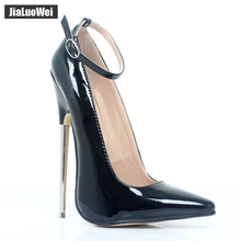 18cm 7 Stiletto Fetish Sharp toe Mary Janes Ankle Wrap high heel pumps spike metal BONDAGE BDSM latex heels