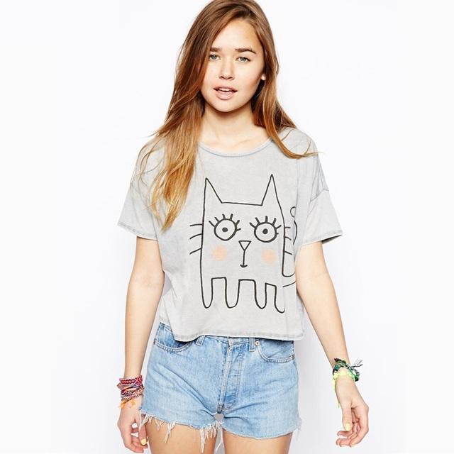 Nuevo 2016 Verano Coreano del Todo-Fósforo Encantador gato de la Historieta Impresión de la Letra Harajuku Tops chica mujeres de la camiseta de Manga Corta Floja Y0314-36D