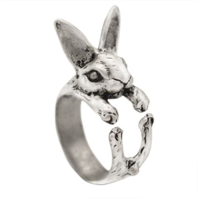 2017 New Fashion Adjustable Size Cute Design women rings Bunny Rabbit Shaped Ani
