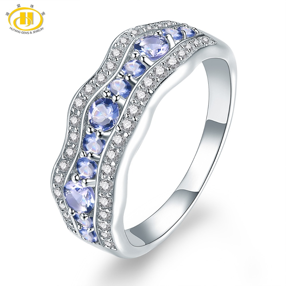 Hutang Gemstone Rings Natural Tanzanite Solid 925 Sterling Silver Ring Engagement Fine Fashion Stone Jewelry for