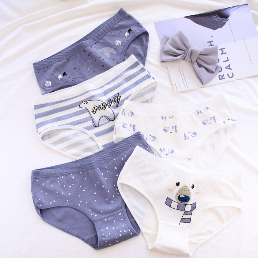 Polar Bear Pattern Cotton Women   Panties   Cotton Underwear Women Briefs Lingerie Sexy   Panties   Women Underwear Tanga Thong