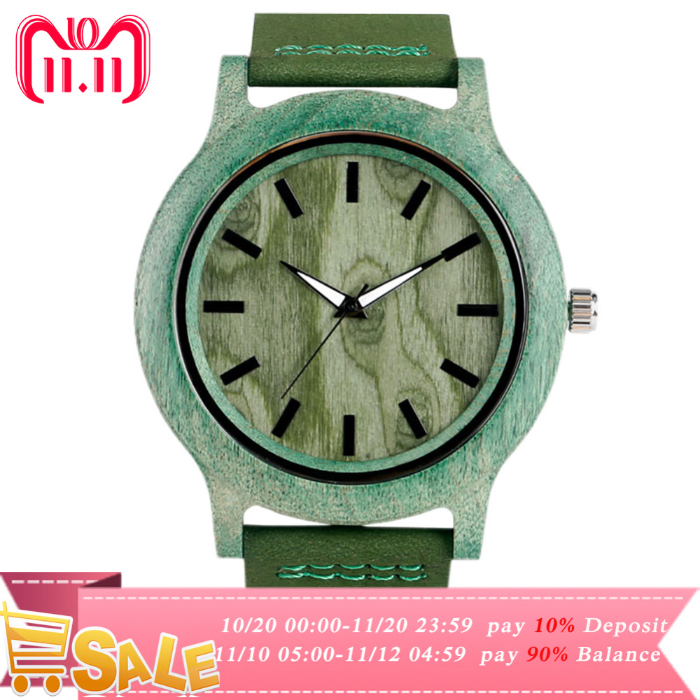 YISUYA Creative Novel Hulk Men Green Bamboo Wood Watches Male Fashion Casual Quartz Thin Genuine Leather Band Wooden Wristwatch planet hulk prose novel