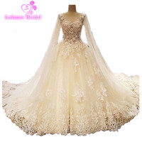 Luxury Cathedral Train Ball Gown Wedding Dresses 2017 New Lace Crystals Sleeveless Bridal Gowns Backless Vestido
