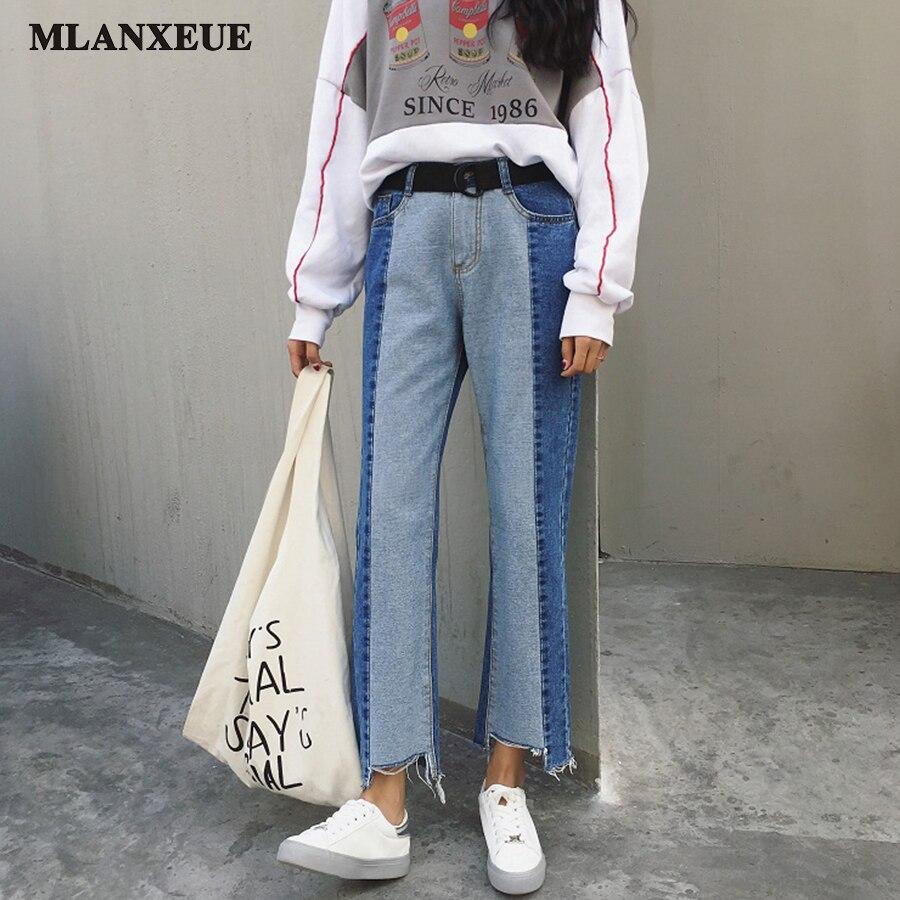 Été Nouvelle Version Coréenne Jeans Femme Mode Taille Haute BF Style Jeans Slim Large Jambe Pantalon Hit Casual Couleur Cheville-Longueur pantalon