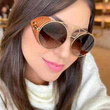 PAWXFB Luxury Leather Frame Punk Sunglasses Women Retro Style Round Sunglasses UV400 Gradient Lens Ladies Shade retro style zinc alloy frame pc lens uv400 protection sunglasses silver red revo