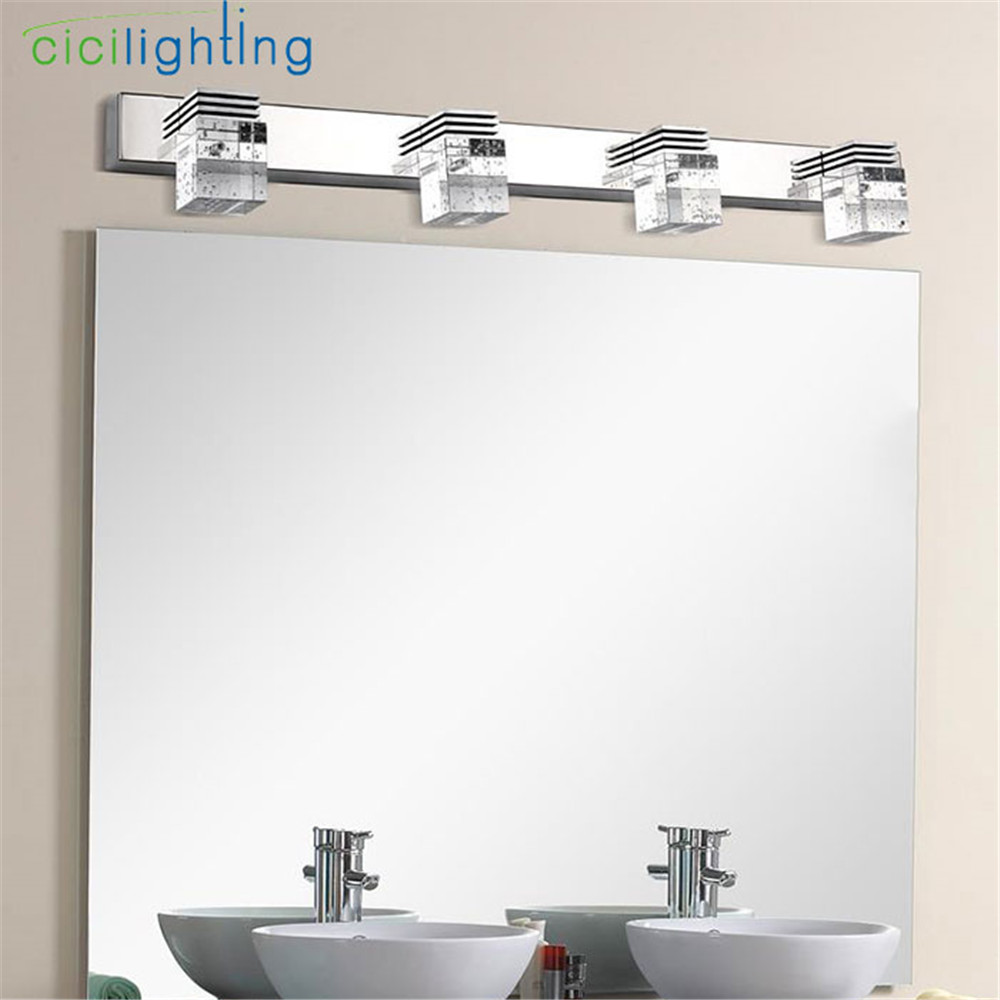 110v 220v 12w 61cm Led Crystal Bathroom Lights Clear Crystal Rain Drop Lampshade Mirror Lamp