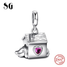 SG 925 Sterling Silver SG Dog house and purple love Cz Pendants Charms Beads Fit Authentic pandora Bracelets Gift Handmade цена