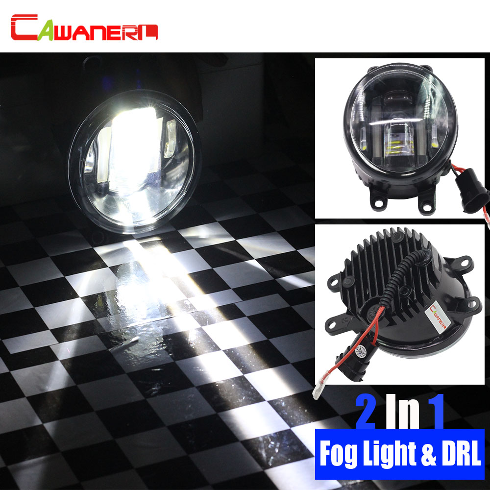 Cawanerl 2 X Car Styling LED Fog Light 12V Daytime Running Lamp DRL High Lumens White For Lexus Subaru Daihatsu Suzuki Scion