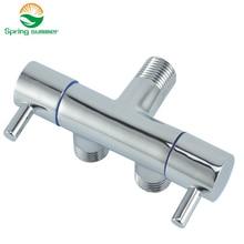 Весна лето двойной переключатель функции туалет кран Ванная комната Ручной Биде Распылитель угловой клапан