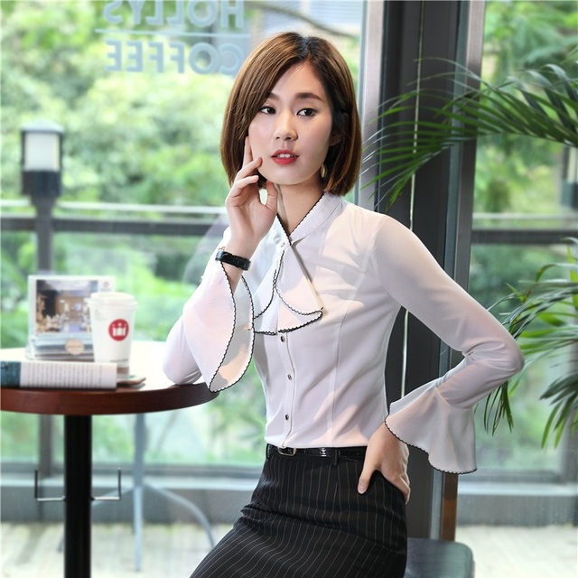 14d1095c62e4f Plus Size Fall Winter OL Styles Blouses Shirts For Women Business Work Wear  Female Tops Clothes Blouse Elegant White Plus Size