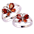 2016 Women Girl Fashion Butterfly Pattern Red Rhinestone Silver Plated Ring Jewelry Gift