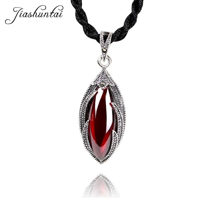 JIASHUNTAI Retro 100% 925 Sterling Silver Red Stone Pendant Necklaces For Women JewelryJIASHUNTAI Retro 100% 925 Sterling Silver Red Stone Pendant Necklaces For Women Jewelry