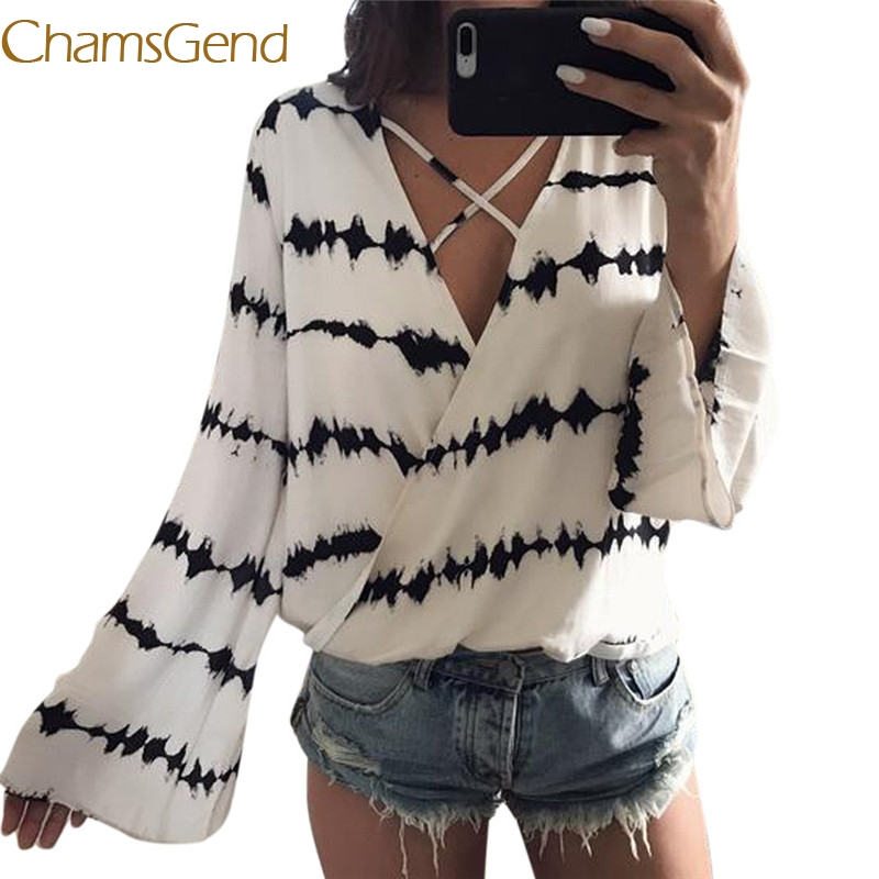 Chamsgend sexy Striped Chiffon women shirts blouses 2017 autumn Spring Long Sleeve hot sale clothing women tops 99# ...