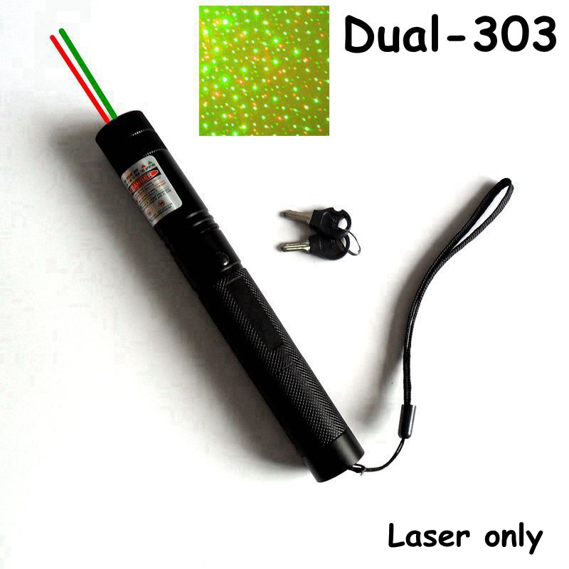 Dual-303 double color Laser pointer laser pen red & green laser starry cap laser only & Gift set inlcude battery and charger