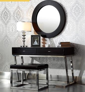 Stainless steel simple modern leather dressing table light luxury bedroom black table.