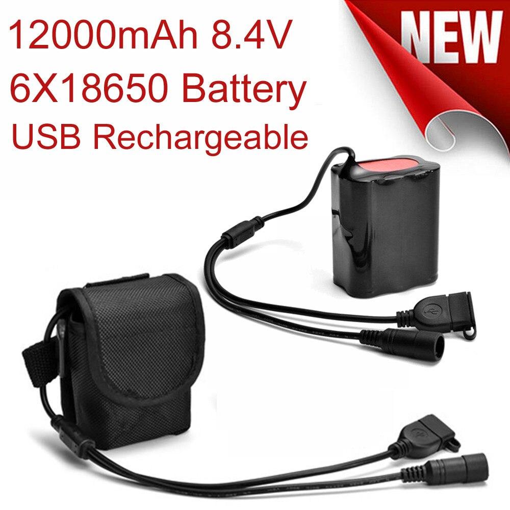 8,4 в 6x18650 аккумулятор 12000 мАч перезаряжаемый литиевый аккумулятор USB + порт постоянного тока для T6 велосипедных фар светодиодный велосипедны...