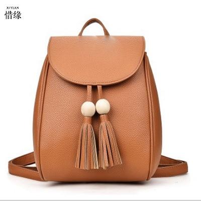Women s Leather Backpack Tassel backpacks women PU backbag student school travel bags lady teenage girls