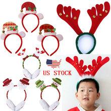 Adult Kids Christmas Xmas Novelty Headband Hat Costume Hair Clip Reindeer Santa 2019 New